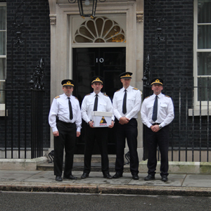 BALPA pilots visit Downing Street to deliver a petition against EASA's recommendations.