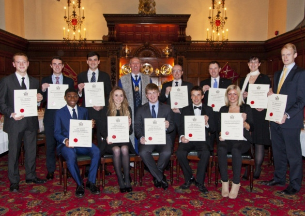 The winners of the scholarships offered by Honourable Company of Air Pilots in 2014