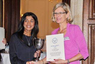 Kanchana Gamage received the Naomi Christy Cup from Dorothy Saul-Pooley in 2015 (Photo: Amy Chau)