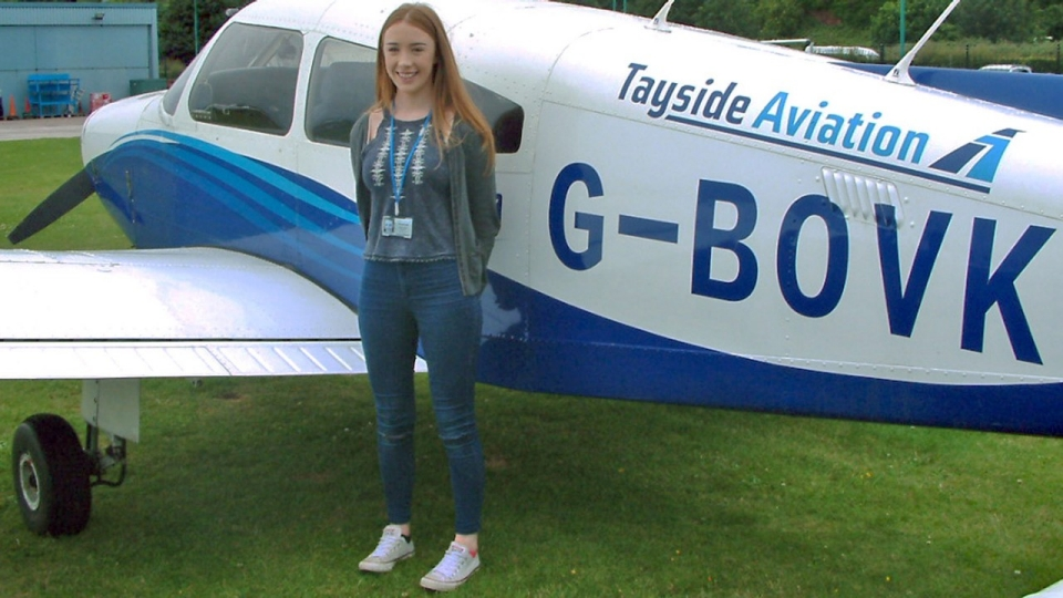 17 year old Aberdeen student, Zoë Burnett, prior to take-off at Tayside Aviation.