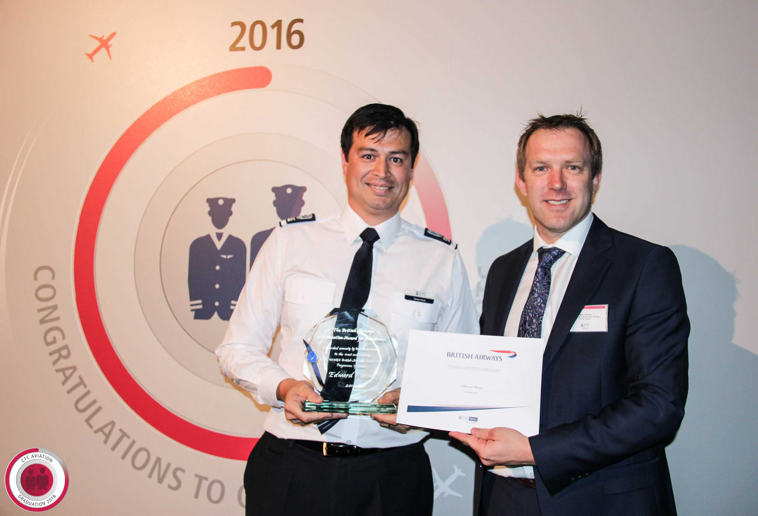 BA award winner Edward Picton, left, and BA pilot recruitment manager Andrew Perkins.