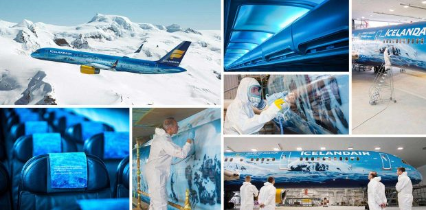 Montage of glacier theme Icelandair aircraft