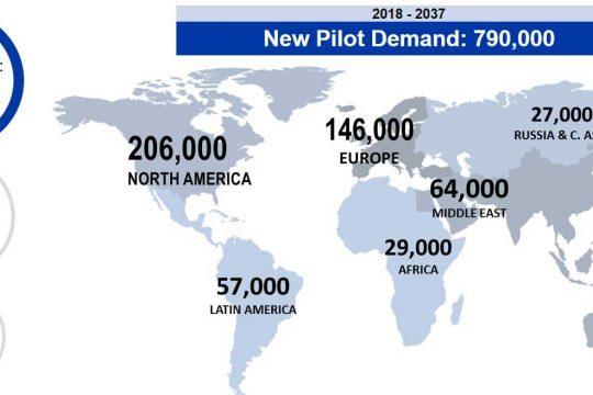 Boeing pilot demand map 2018